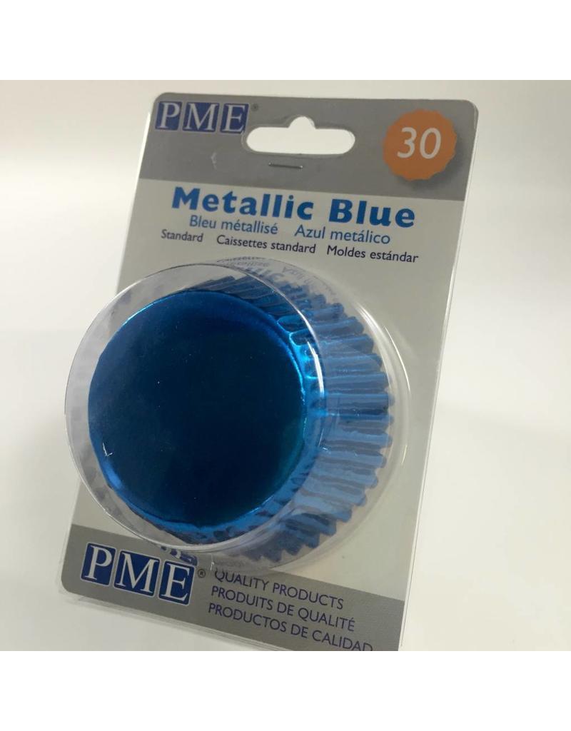 PME METALLIC BLUE BAKING CUPS STD30  BC754