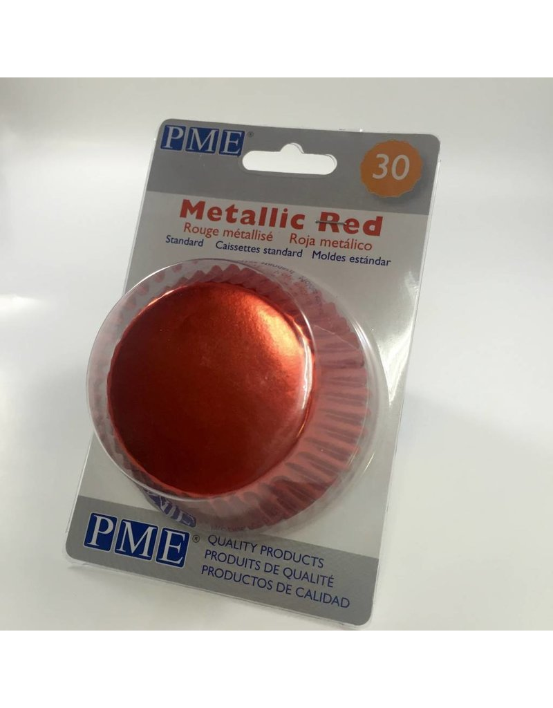 PME METALLIC RED BAKING CUPS STD  30PK   BC756