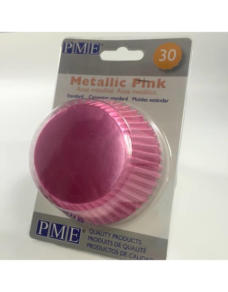 PME METALLIC PINK BAKING CUPS STD PK30  BC758