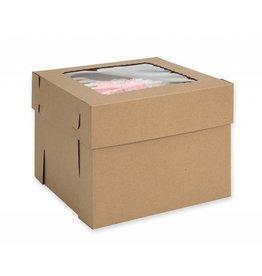 """Kraft Cake Box Window 10"""" X 10"""" X 8"""" WPCKB108KP"""
