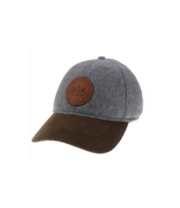 Legacy Athletic Wool Baseball Cap w/ Leather PSU Logo, Grey/Brown