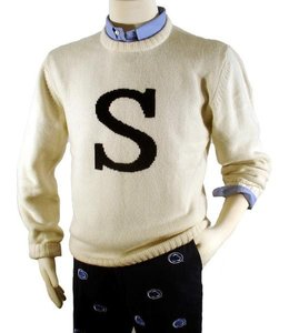 "Smart Turnout Ivory Lambswool Sweater with Navy ""S"""