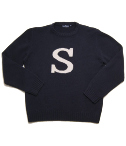 "Smart Turnout Navy Lambswool Sweater with Ivory ""S"""