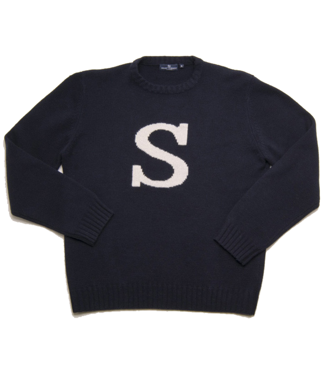"Smart Turnout Navy Lambswool Sweater with Navy""S"""