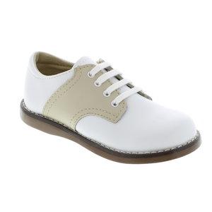 Footmates Cheer White/Tan Saddle Oxfords