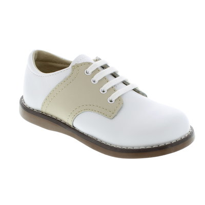 Footmates Cheer White/Tan Saddle Oxfords