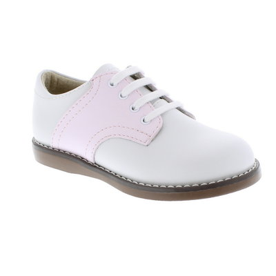 Footmates Cheer White/Rose Saddle Oxfords