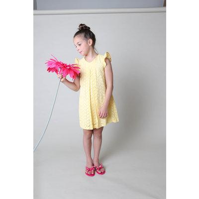Gabby Yellow Eyelet A-line Dress