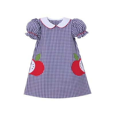 Zuccini Apple Applique Navy Check S/S Dress