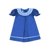Zuccini Cambridge Smocked Royal Blue Cord Bishop