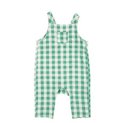 Angel Dear Green Gingham Pocket Coveralls