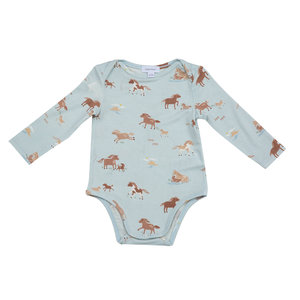 Angel Dear Wild Horses Lap Shoulder Blue Multi Onesie
