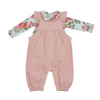 Angel Dear Velour Pink Ruffle Overall w/Woodland Rose Bodysuit