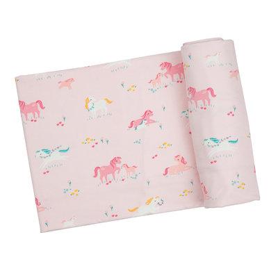 Angel Dear Girl Ponies Swaddle Blanket