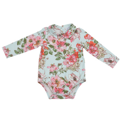 Angel Dear Velour Pink Ruffle Overall w/Woodland Rose Bodysuit
