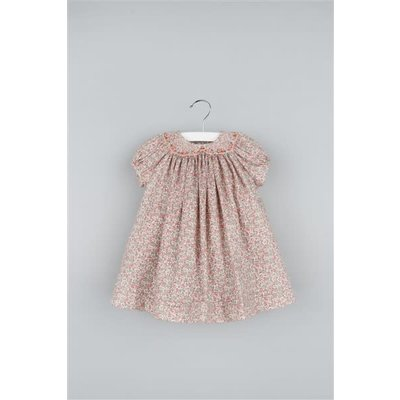 Luli & Me Coral Floral Smocked Bishop