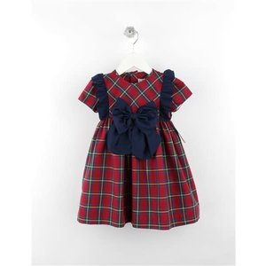 Sophie & Lucas Cranberry Tartan Bow Dress