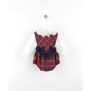 Sophie & Lucas Cranberry Tartan 2PC Girl Overall