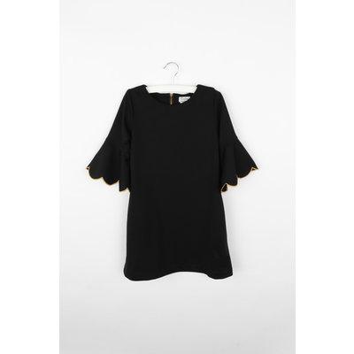 Gabby Black Joyful Ponte Scallop Dress