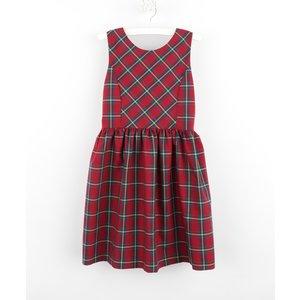 Gabby Cranberry Plaid Bow Dress