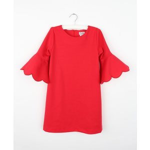 Gabby Red Embroidered Ponte Scallop Dress