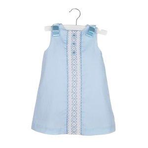 Luli & Me Blue Aline Dress w/Smocked Insert