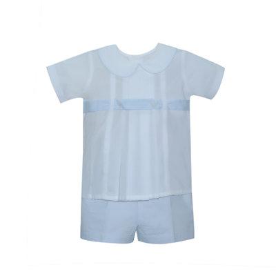 Lullaby Set Benton Short Sleeve White/Blue Short Set