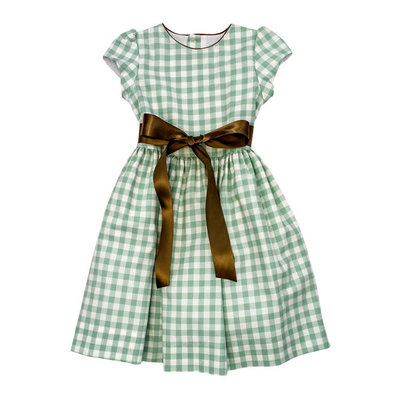 Bailey Boys Sage Check Dress w/Sash