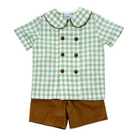 Bailey Boys Sage Check Dressy Short Set