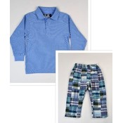 Funtasia, Too Lt Blue Polo Patchwork Pant Set
