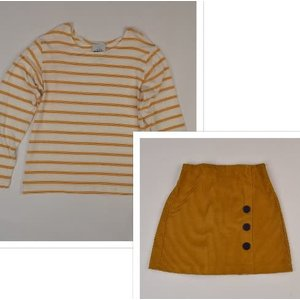 Maggie Breen Mustard Stripe Corduroy Skirt Set
