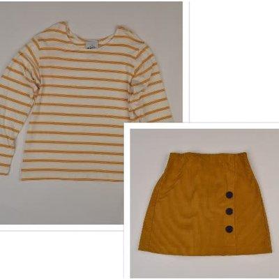 Maggie Breen Mustard Stripe Corduroy Skirt Set