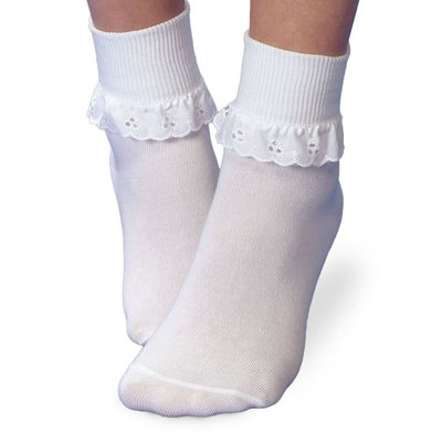 Jefferies Socks White Eyelet Sock