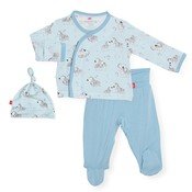 Magnificent Baby Blue Little One Modal Magnetic 3Pc Kimono Set