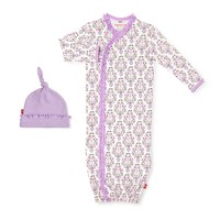 Magnificent Baby Unicorn Dreams Organic Cotton Gown & Hat