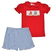 Silly Goose Back To School Smocked ABC Girl Short Set