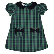 Monday's Child Green and Navy Plaid A-line Dress