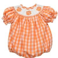 Vive La Fete Clemson Smocked Orange Big Checked Girl Bubble