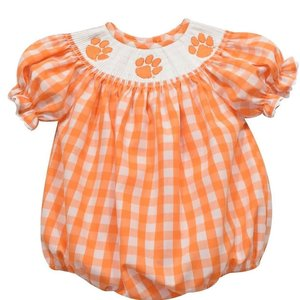 Vive La Fete Clemson Smocked Orange Big Checked Girl Bubble