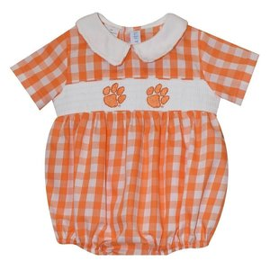 Vive La Fete Clemson Smocked Orange Big Check Boy Bubble
