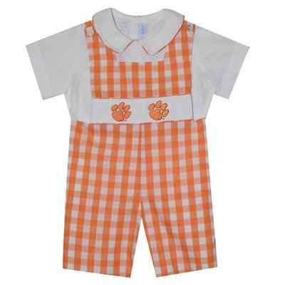 Vive La Fete Clemson Smocked Orange Big Check Shortall w/Shirt