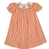 Vive La Fete Clemson Smocked Orange Big Check Bishop