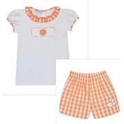 Vive La Fete Clemson Smocked Orange Big Check Girl Short Set