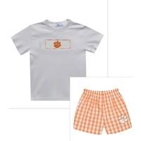 Vive La Fete Clemson Smocked Orange Big Check Boy Short Set