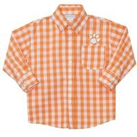 Vive La Fete Clemson Embroidered Orange Big Check Button Down Shirt