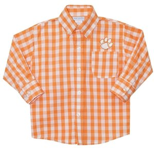 Vive La Fete Clemson Embroidered Orange Big Check Button Down Shirt