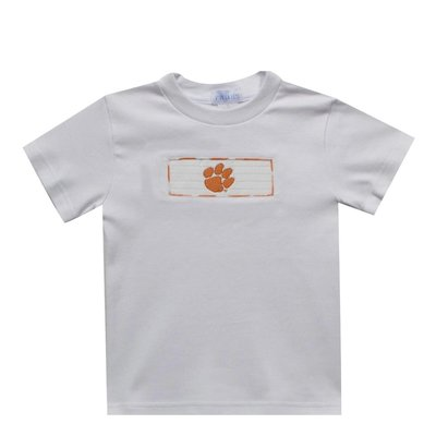 Vive La Fete Clemson Smocked Orange Big Check Boy Short Set