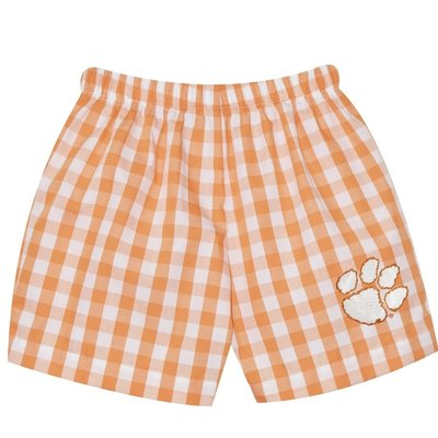 Vive La Fete Clemson Smocked Orange Big Check Girl Short Set