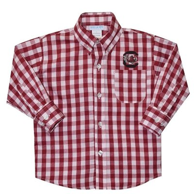 Vive La Fete South Carolina Maroon Big Check Button Down Shirt