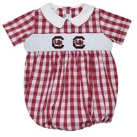 Vive La Fete South Carolina Smocked Maroon Big Check Boy Bubble